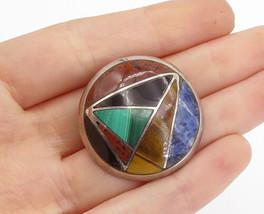 MEXICO 925 Silver - Vintage Multi-Gemstone Mosaic Dome Brooch Pin - BP5859 - $56.57