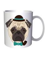 New Hipster Pug Dog Art 11oz Mug l241 - $10.83