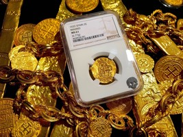 SPAIN ATOCHA DATE 1622 2 ESCUDOS NGC 61 GOLD TREASURE DOUBLOON SHIPWRECK... - $6,950.00