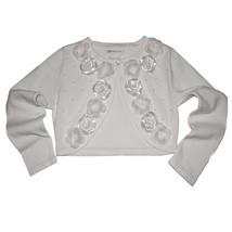 Bonnie Jean Little Girl 2T-6X White Beaded Satin Rosette Knit Cardigan Sweater