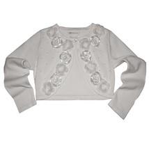 Bonnie Jean Little Girl 2T-6X White Beaded Satin Rosette Knit Cardigan Sweater