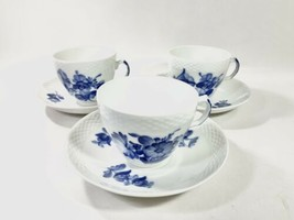 3x Royal Copenhagen Blue Flower 8261 Coffee Cup and Saucer Scandinavian ... - $129.97