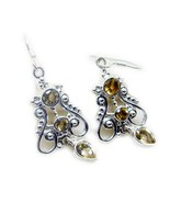jaipur 925 Sterling Silver bewitching genuine Yellow Earring gift UK - $20.67