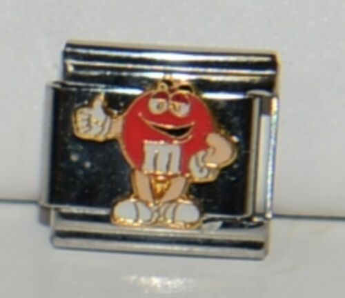Casa DOro 9295 Red M and M Character Link Italian Charm Stainless Steel