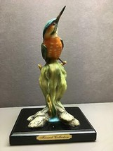 Beautiful Colorful Orange Breasted Green Blue Bird on Plant with Stand - $13.03