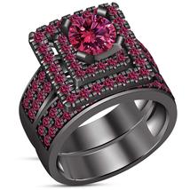 Bridal Engagement Ring Set Round Cut Pink Sapphire Black Gold Finish 925... - $118.99
