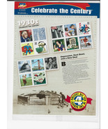 Celebrate The Century Stamps 1930's Depression Dust Bowl New Deal Sheet ... - $19.00