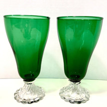 Anchor Hocking Vintage Burple Forest Green Swirl Bubble Foot Iced Tea 2 Glasses - $24.95