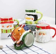 Christmas Mugs 3d Ceramic Cartoon Cups Santa Coffee Holiday Cute Red Sno... - $23.99