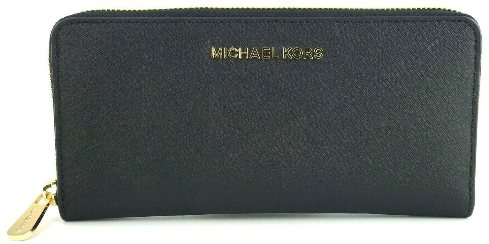 Primary image for Michael Kors Purse Zip Around Wallet Black Large Saffiano Leather RRP £170