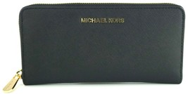Michael Kors Purse Zip Around Wallet Black Large Saffiano Leather RRP £170 - $181.43