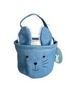"Blue Denim Easter Basket Bunny Face with Ears and Handle 6"" Tall  New wi... - $8.79"