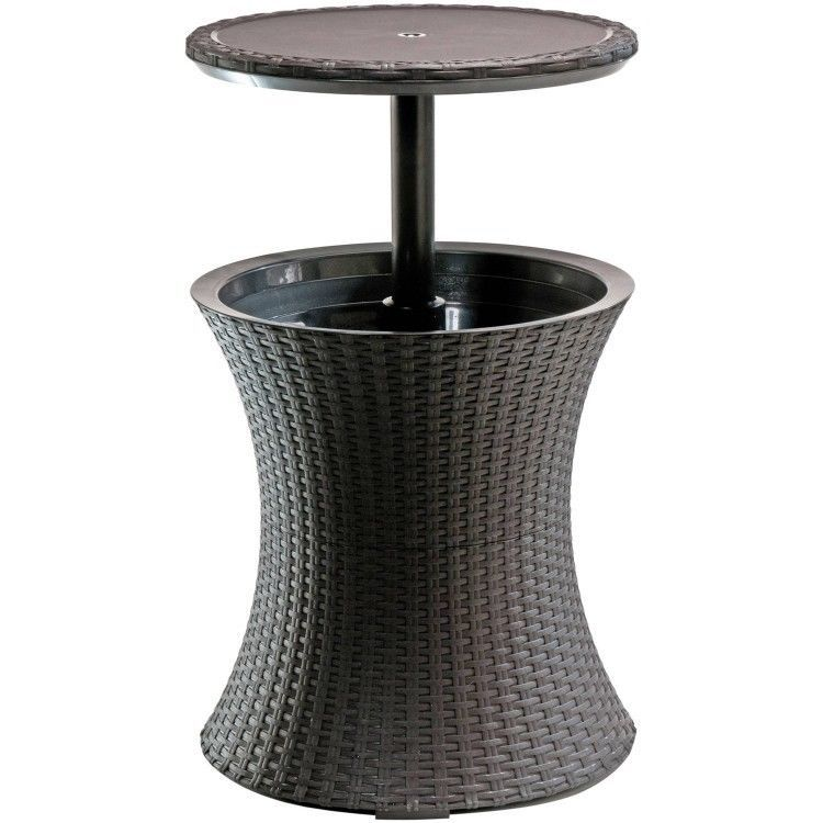 S L1600 Patio Cooler Table Outdoor Furniture Brown Rattan Ice Bucket Stand Drink Holder