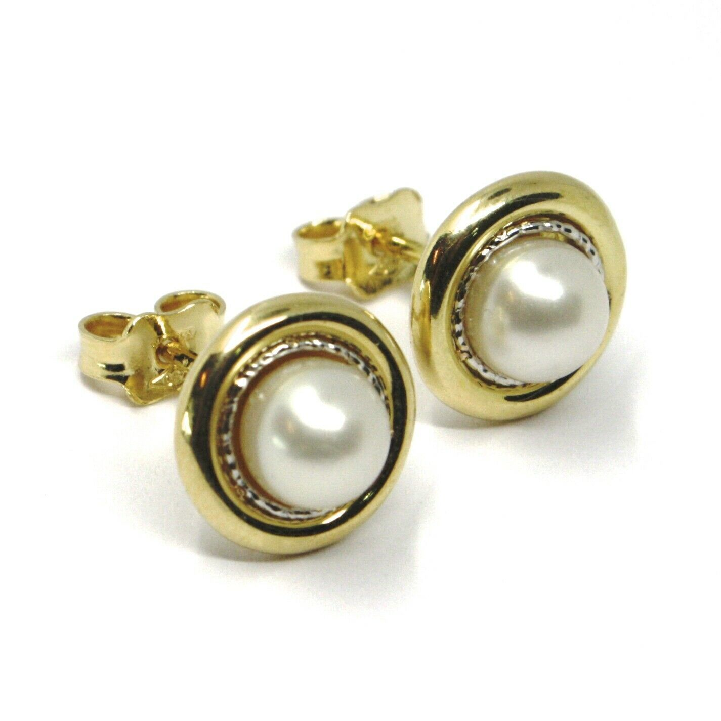 18K YELLOW WHITE GOLD PEARL BUTTON EARRINGS, 11 MM, 0.43 INCHES WORKED DISC
