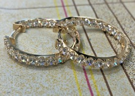14K White Or Yellow Gold Inside Out Round Brilliant Huggie Hoop Earrings... - $304.00