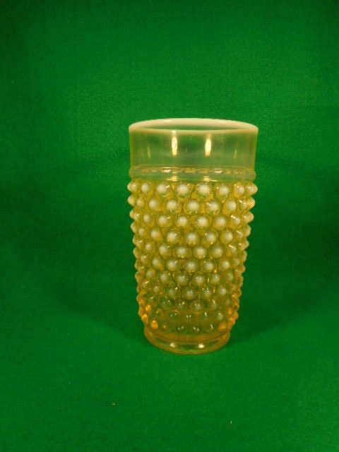 Vintage Imperial Glass Hobnail Topaz Opalescent Vaseline 12 oz. Tumbler