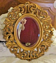 """NEW Ornate Baroque Carved Style Gold Framed Oval Bevelled Mirror 29.5"""" Tall - $247.50"""