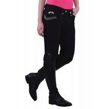 Equine Couture Ladies Sarah Knee Patch Breeches Black Size 24 NEW image 1