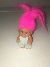"Genuine Thomas Dam Troll 1965 3 1/2""  W/ Pink Hair & Light Blue Dress Ba... - $50.00"