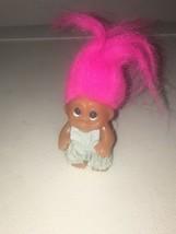 "Genuine Thomas Dam Troll 1965 3 1/2""  W/ Pink Hair & Light Blue Dress Ba... - $50.00"