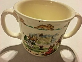 Royal Doulton Bunnykins Childs China Double Handle Cup Badmitten Theme SKU028065 - $16.99