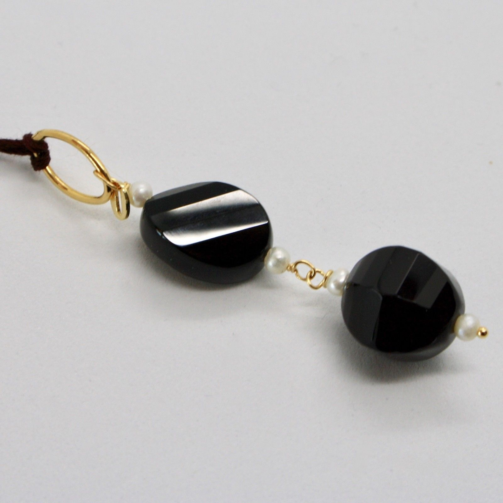 PENDANT YELLOW GOLD 18K 750 ONYX BLACK AND MINI PEARLS OF WATER DOLCE