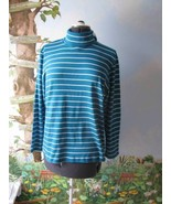 Jones New York Sports Women Teal Striped Long Sleeve Knit Shirt Size 1X  - $24.74