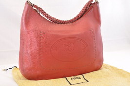 FENDI Leather Hand Bag Red Auth 6104 - $344.00