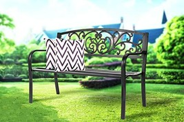 Patio Bench Front Porch Metal Bench Comfortable Outdoor Furniture Iron B... - $69.05