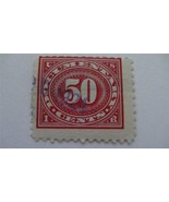 Large Numeral In Oval Carmine Rose USA Used 50 Cent Revenue Stamp - $8.45