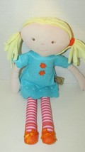 Bonnika blonde hair Soft rag doll plush blue dress pink red striped legs... - $14.84