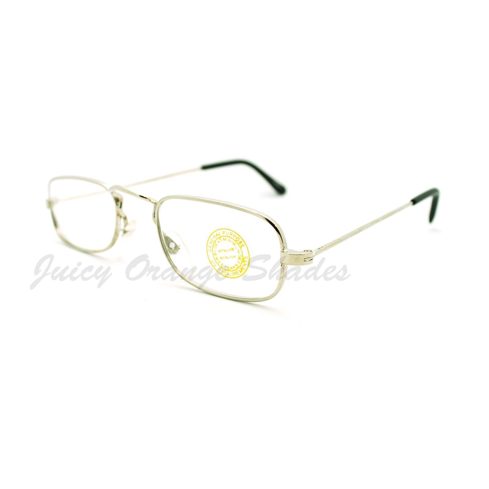 Clear Lens Glasses Thin Light Metal Frame Small Narrow Rectangular Lens