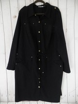 CALVIN KLEIN Dress 1X Black Poly Rayon Spandex Drawstring Waist Snaps Br... - $88.11