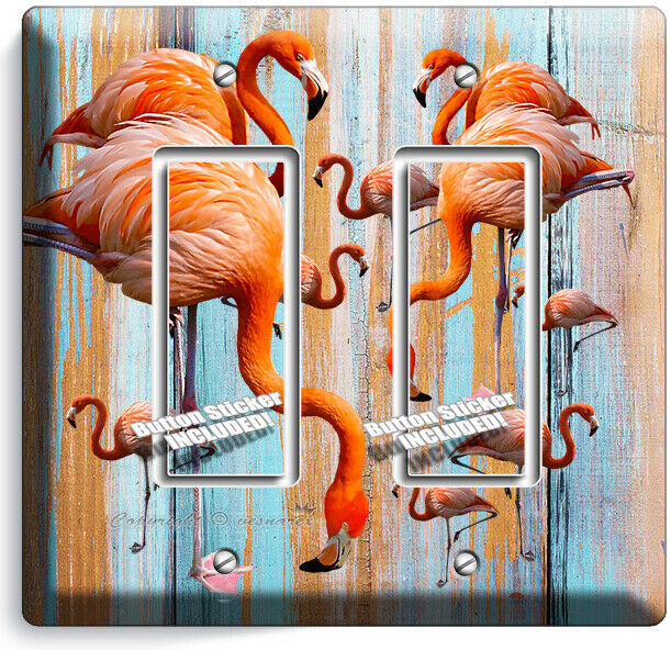 TROPICAL PINK FLAMINGO WORN OUT WOOD 2 GFCI LIGHT SWITCH WALL PLATES ROOM DECOR
