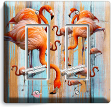 TROPICAL PINK FLAMINGO WORN OUT WOOD 2 GFCI LIGHT SWITCH WALL PLATES ROO... - $12.99