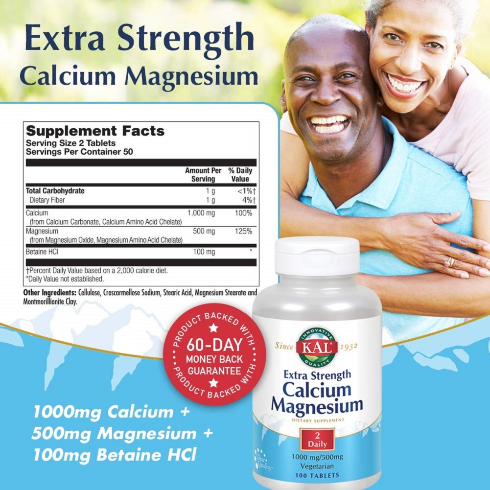 Extra Strength Calcium Magnesium Bones, Teeth, Nerve & Muscle Support 100 Tabs - $50.90