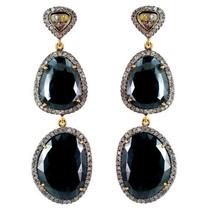 Black Spinel Gemstone 14k Gold Pave 2.63t Diamond Dangle Earrings Silver Vintage - $934.15