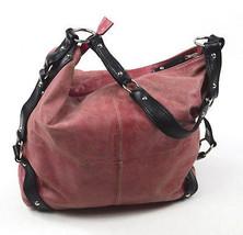 3ff1ec3c02d0 TANO Weathered Rouge Red Leather Studded Strap Hobo Shoulder Bag Satchel  Purse M -  48.50