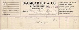 Antique Invoice Baumgarten & Co Printing Baltimore MD 1908 - $4.94