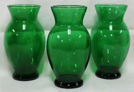 "3 Vintage Anchor Hocking Forest Emerald Green Glass Vases Round Flare Top 6 3/8"" - $27.99"
