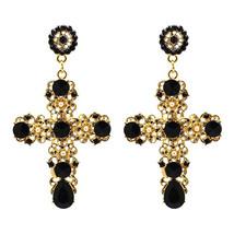 Gold Cross Earrings - Statement Black & Gold Dramatic Drop Cross Earrings  - $14.85
