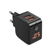 Universal Dual USB EU Plug Travel Power Adapter with LCD Display - $12.98