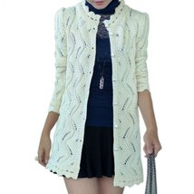 Sweet Lace Crochet Women Knitted Cardigan Outerwear - $27.16