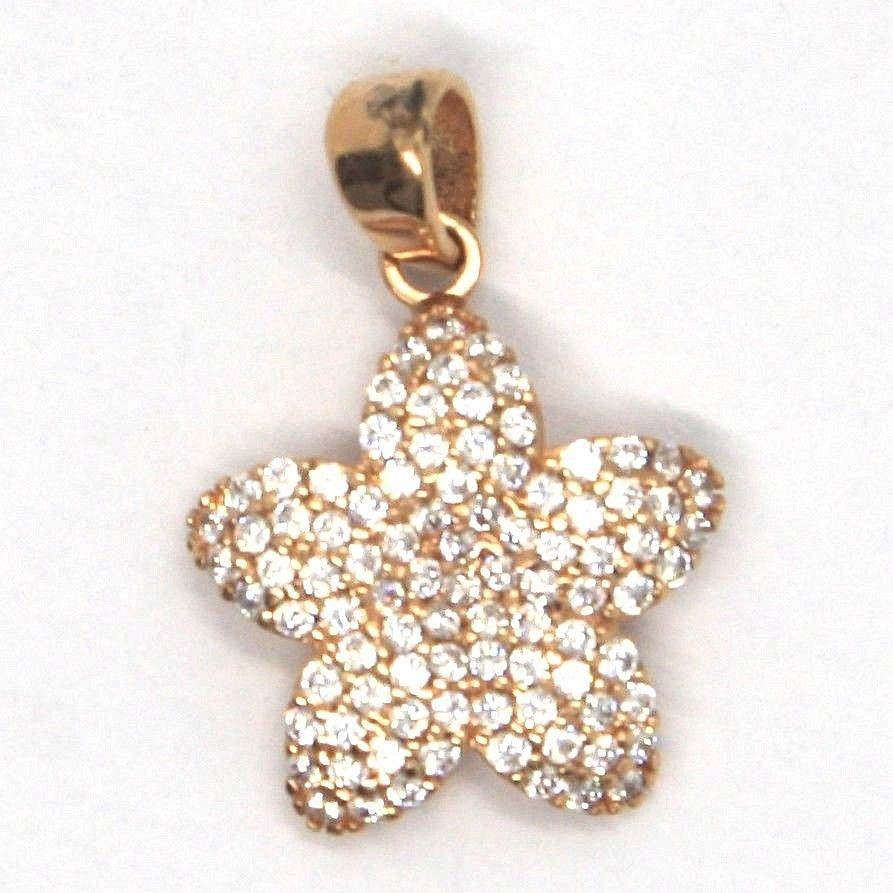 18K ROSE, PINK GOLD FLOWER STAR CHARM PENDANT WITH ZIRCONIA, MADE IN ITALY