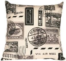 Pillow Decor - Vintage Postage Stamp Gray 22x22 Throw Pillow image 1