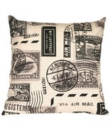 Pillow Decor - Vintage Postage Stamp Gray 22x22 Throw Pillow - £38.79 GBP