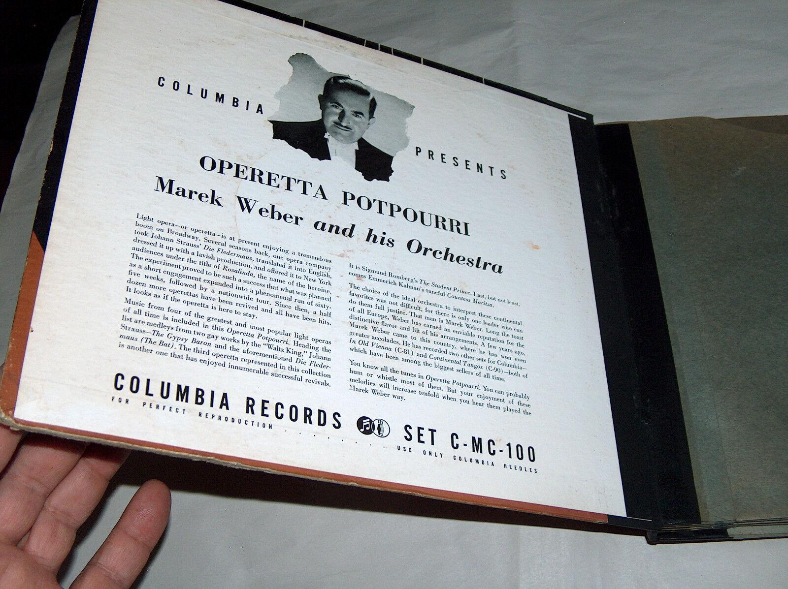 Columbia Records Marek Weber Orquesta Operetta Popurrí Record Álbum Juego MC100