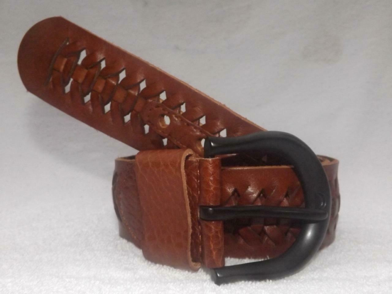LAUREN BY RALPH LAUREN EQUESTRIAN BRAIDED 100% LEATHER BELT BROWN SZ L NWT $64
