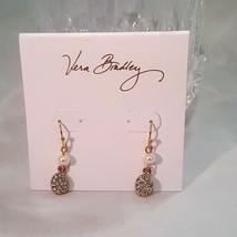 VERA BRADLEY PEARL DROP HOOK EARRINGS GOLD TONE WITH WHITE - $15.00