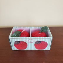 """STRAWBERRY SCENTED CANDLES Set of 2 Red Strawberries Shape Candle 2 1/4"""" H image 5"""